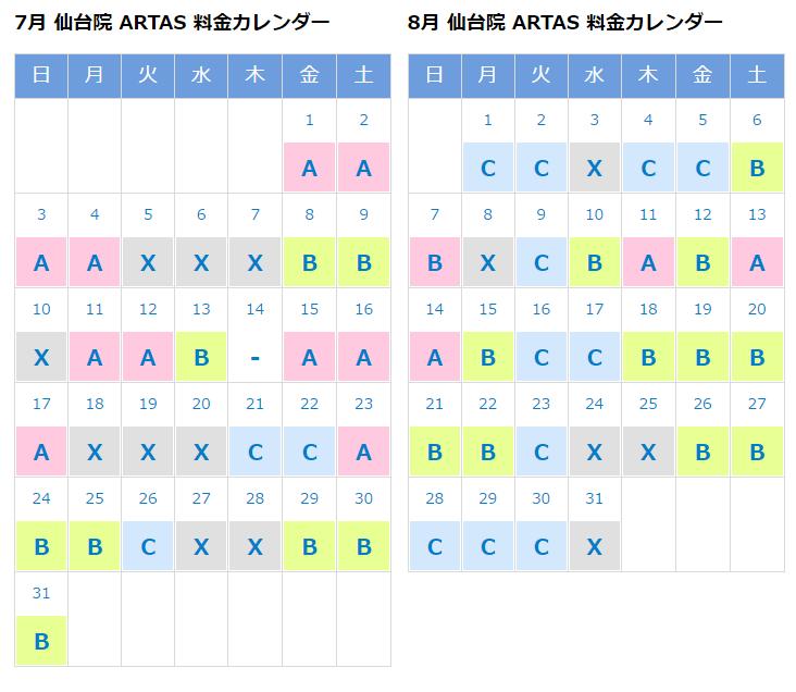 仙台院のARTAS料金カレンダー