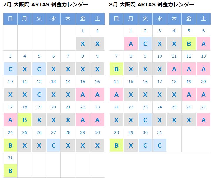 大阪院のARTAS料金カレンダー